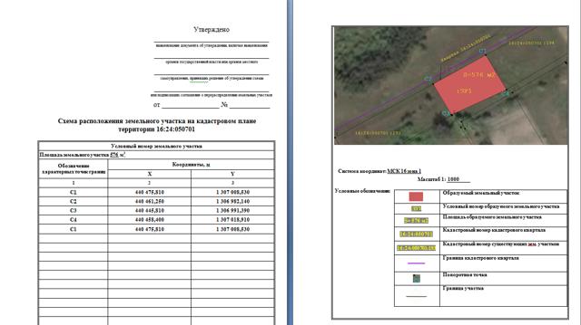 Кадастровая схема земельного участка на кадастровом плане